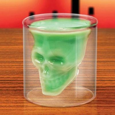 [로하티]해골 술잔 75ml/ 이중유리 양주잔