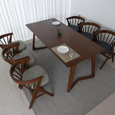 우데 고무나무 원목 6인 식탁+의자 세트
