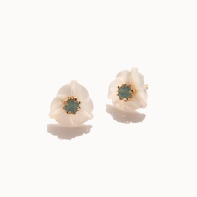제이로렌 04M01994 민트 스와로브스키 자개꽃 귀걸이