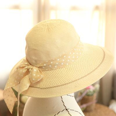 초로니 땡땡이리본 밀짚 자외선 햇빛차단 라탄 모자