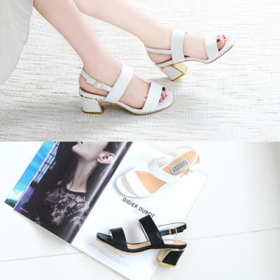[애슬릿]골드 라인 스퀘어 여성 슬링백 샌들 6.5cm