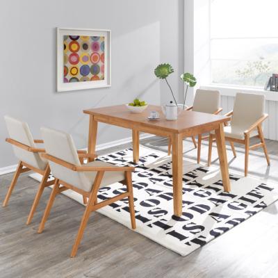 N4105 4인 원목 식탁 세트(의자형) 3colors