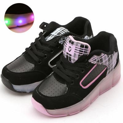 체크휠리스 아동 주니어 바퀴달린 LED 신발