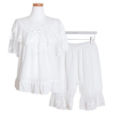 [쿠비카]아일렛 펀칭 투피스 5부팬츠 여성잠옷 W473