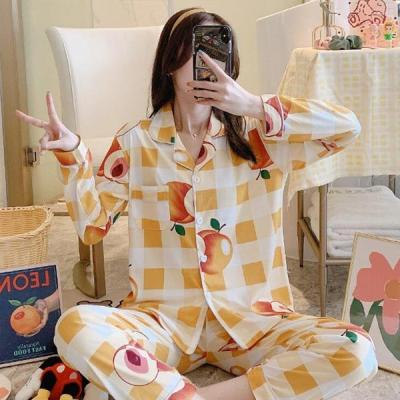 피치피치 여성잠옷 체크 긴팔 홈웨어 파자마세트