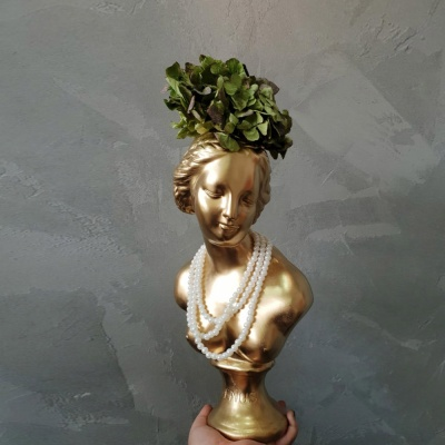 골드 컬러 중형 비너스여인 석고상화분 38cm+리본2개