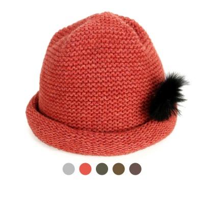 [디꾸보]울 털방울 패치 말림 비니 모자 AC498