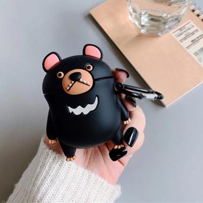 에어팟 1/2세대 블랙 곰돌이 인형 실리콘케이스/키링