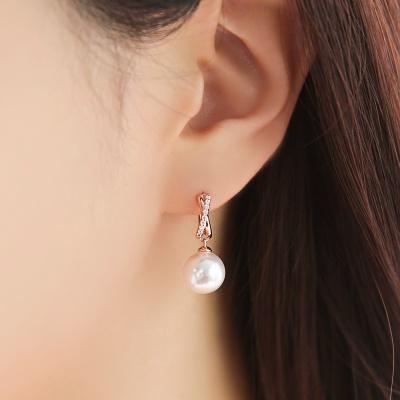 OST 은은한 진주 로즈골드 원터치 링 귀걸이