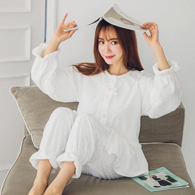 [쿠비카]스템프양 극세사 투피스(화이트) 잠옷 W115