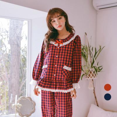 [쿠비카]양포켓 체크 라운드 투피스 여성잠옷 W275