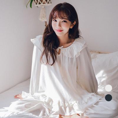 [쿠비카]프릴 넥 레이스 이중지 투피스 여성잠옷 W271