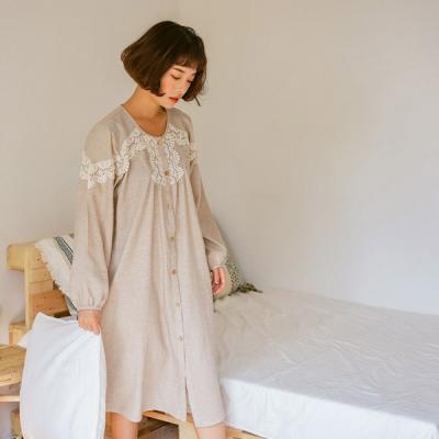 [쿠비카]선염면 긴소매라운드 원피스 여성잠옷 W409