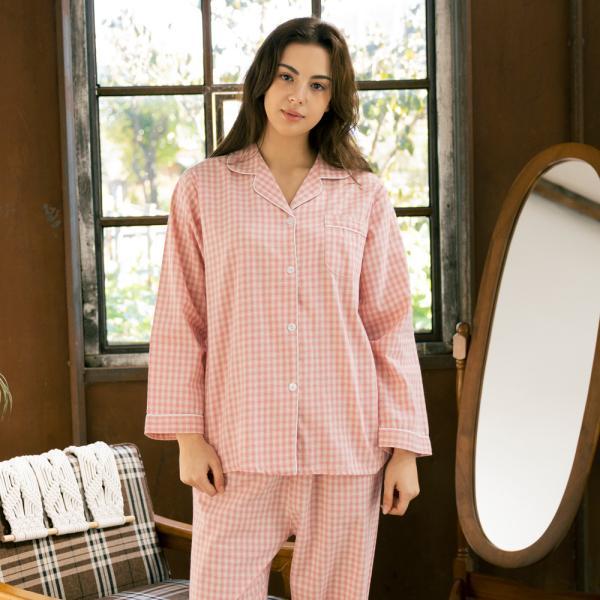 메리핀 코튼 체크 여성 핑크 긴팔 파자마세트