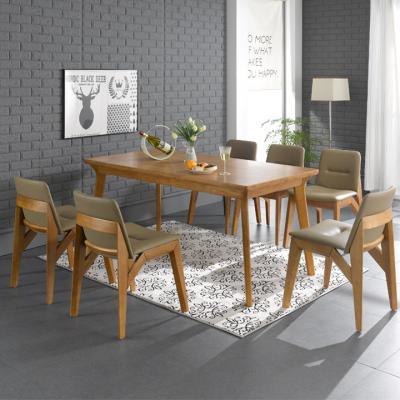 N490 6인 원목 식탁 세트(의자형) 2colors