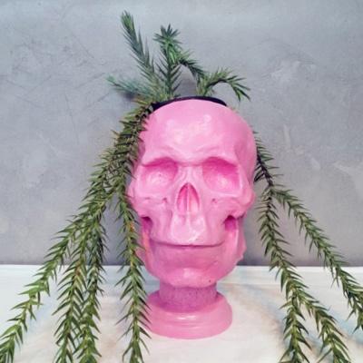 핑크 컬러 해골 중형 석고상 화분 35cm 내외+리본2개