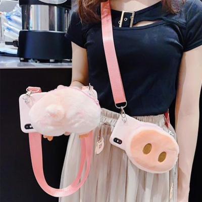 갤럭시노트9 돼지 스트랩 카드 지갑형 실리콘 케이스
