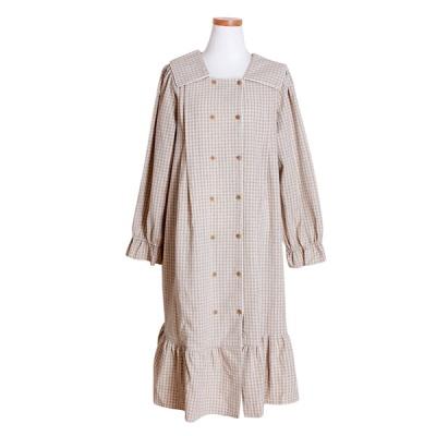 [쿠비카]체크 워싱원피스 스퀘어넥 여성잠옷 W498