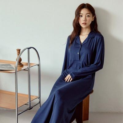 [쿠비카]도브모달 캡내장 롱 원피스 여성잠옷 W832