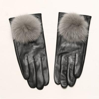 Bunny Pompom Leather Gloves