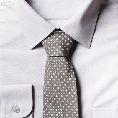 남자 페이즐리 그레이 면 넥타이