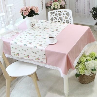 [폭이넓은]글로아 레이스(핑크) 방수식탁보+러너-(6인용)방수식탁보+러너