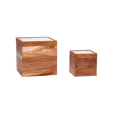 [Hubsch]Storage box w/glass lid, wood, nature, set of 2 319015 우드박스