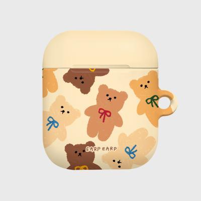 Dot ribbon bear-ivory(Hard air pods)