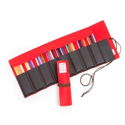 50색 펠트 색연필 롤케이스(펠트+인조가죽, 레드)