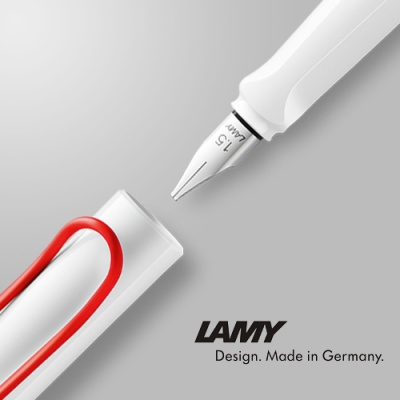 (LM015) 라미 조이 만년필 (1.5mm) 화이트 레드클립