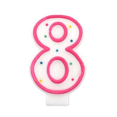 도트 숫자초8-핑크