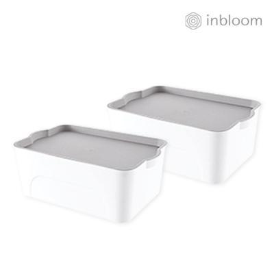 인블룸 1+1세트 모던 핸들 리빙박스 소형 화이트