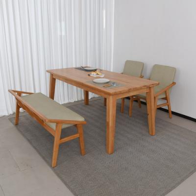 N4108 4인 원목 식탁 세트(등벤치형) 2colors