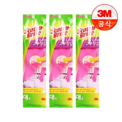 [3M]황토숯 고리형 고무장갑(대) 3개세트