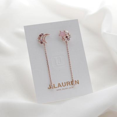 제이로렌 9M02591 장미수정 별 달 로즈골드 귀걸이