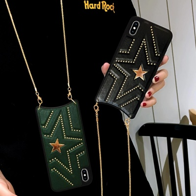 아이폰 11 프로 맥스 별 큐빅 가죽 패션 체인 케이스