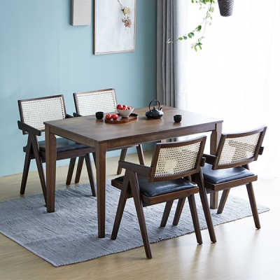 [리비니아]루디 홀리라탄의자 4인용 원목식탁세트