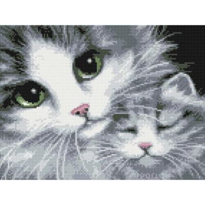 행복 고양이 (캔버스형) 보석십자수 30x40