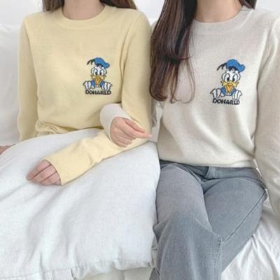 여성 가을 라운드 니트 티 스웨터 캐시미어 도날드