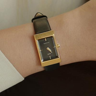 여자 가죽 밴드 디자인 시계 바우스 그리드 블랙 골드