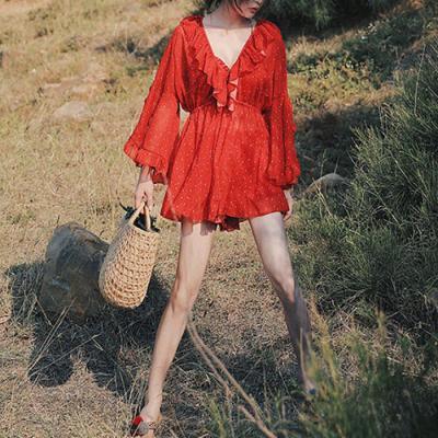 O122 셔링도트 여성 여름 원피스 수영복