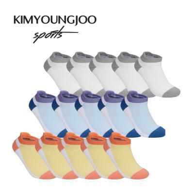 5팩 KYJ 로우컷 하이백 더블쿠션 남녀 골프양말 세트