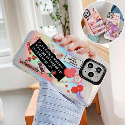 아이폰11 PRO MAX 베어 로즈 스티커 홀로그램 케이스