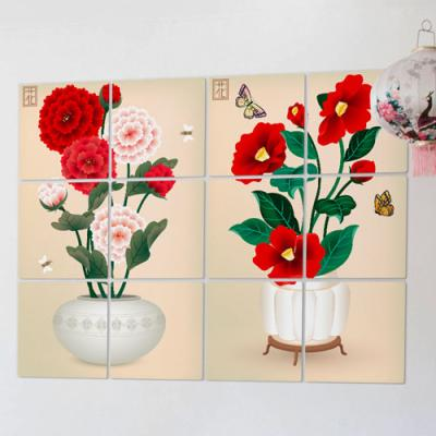 ia331-멀티액자_한국전통꽃그림03(카네이션, 동백꽃)