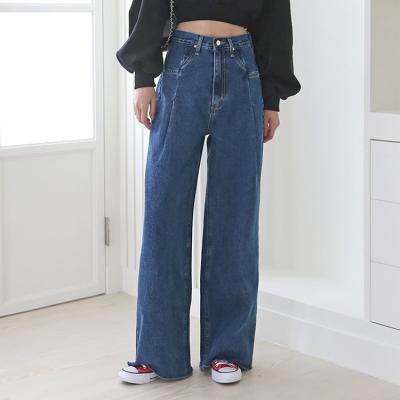 Apollo Dark Pintuck Wide Jeans