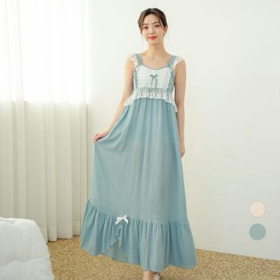 [쿠비카]레이온코튼 3중 밴딩 롱 원피스 잠옷 W612
