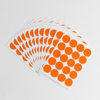 20mm 컬러 원형스티커 12매세트(오렌지)/분류스티커