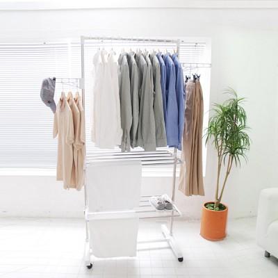 [토마톰스]프리미엄 옷걸이형 이동 빨래건조대 2단
