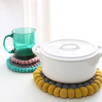 양모펠트 방울 컵받침 티코스터 S -3color