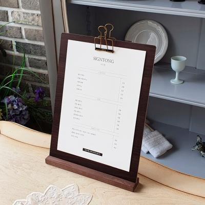 심플 우드 클립보드 A4용 스탠드형 게시판 메뉴판